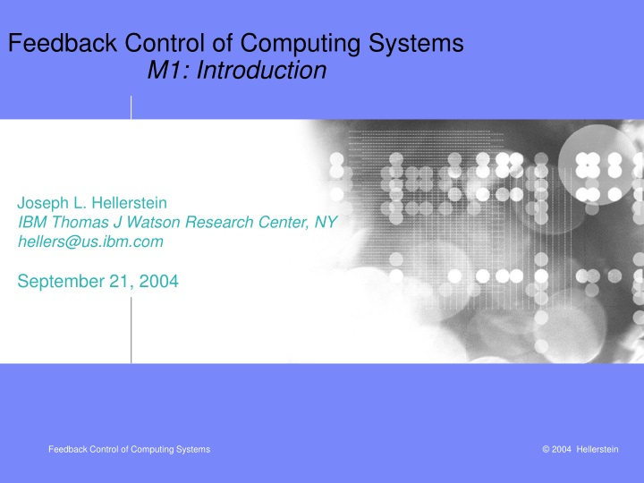 feedback control of computing systems m1 introduction n.