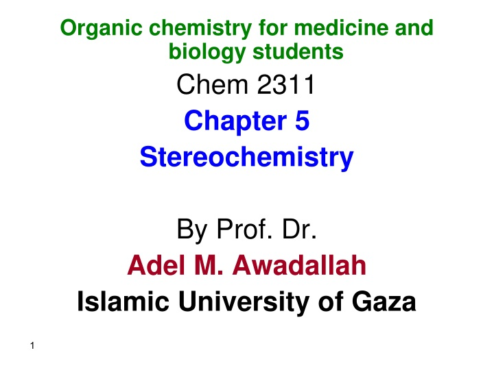 organic chemistry for medicine and biology n.