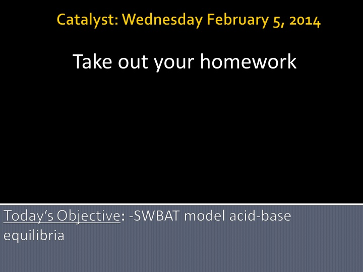 today s objective swbat model acid base equilibria n.