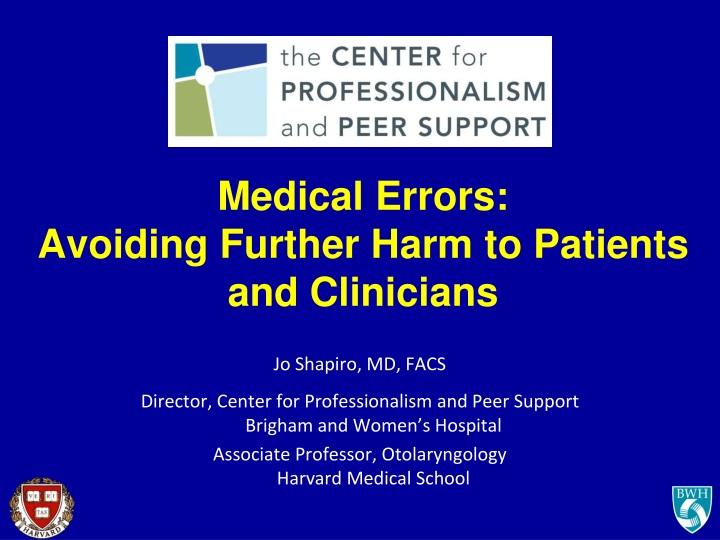 medical errors avoiding further harm to patients and clinicians n.