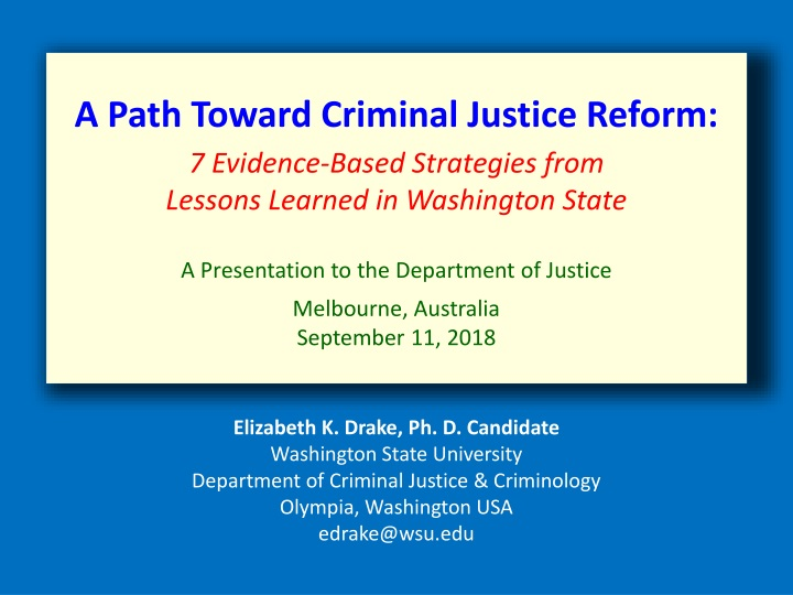 a path toward criminal justice reform 7 evidence n.
