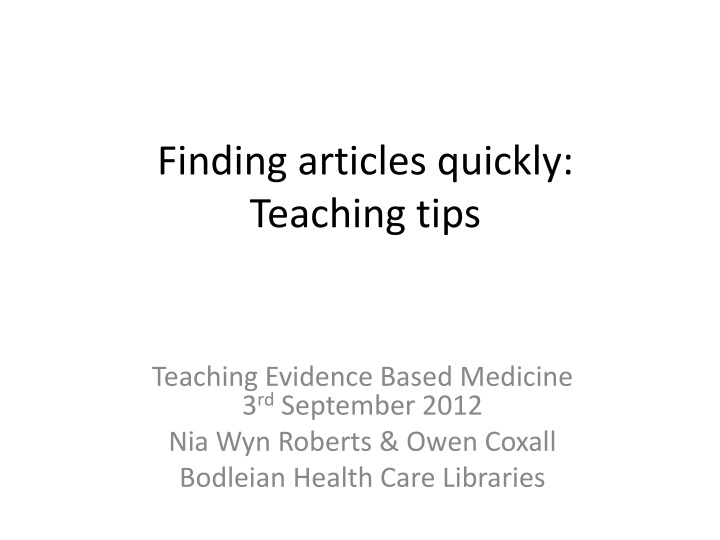 finding articles quickly teaching tips n.