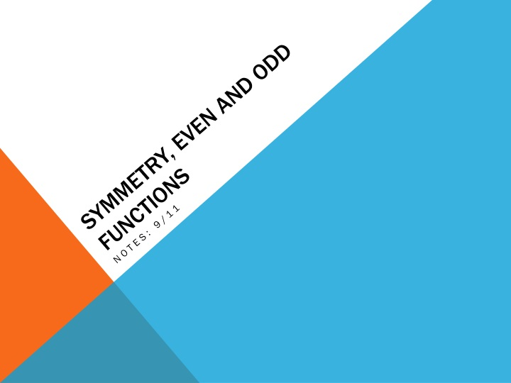 symmetry even and odd functions n.