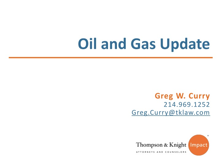 oil and gas update n.