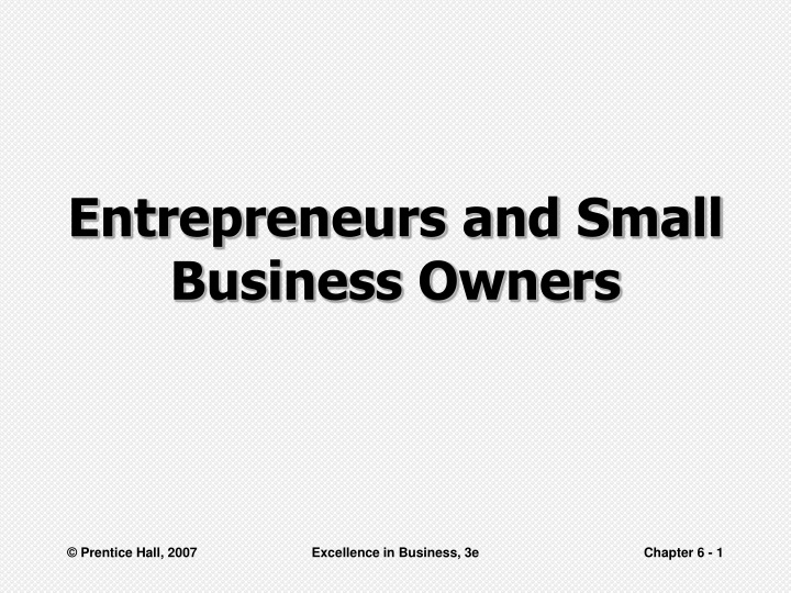 entrepreneurs and small business owners n.