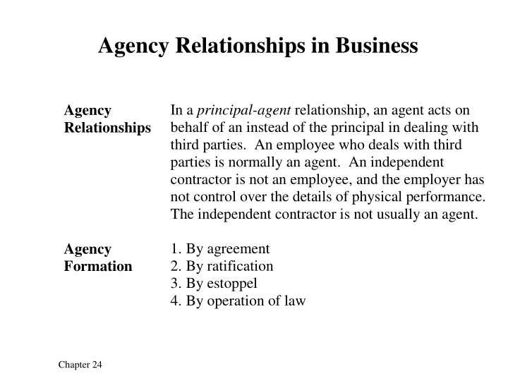 agency relationships in business n.