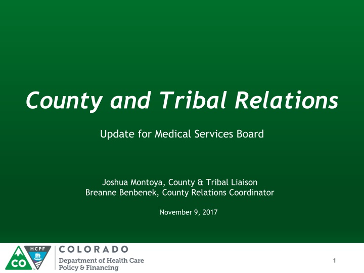 county and tribal relations n.
