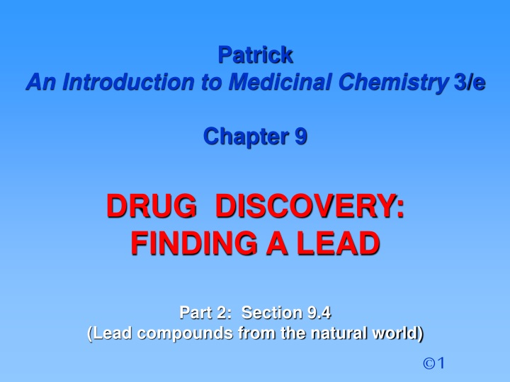patrick an introduction to medicinal chemistry n.