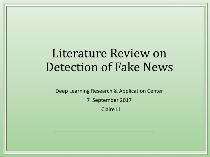 literature review on detection of fake news n.