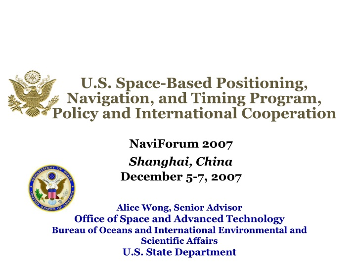 u s space based positioning navigation and timing program policy and international cooperation n.