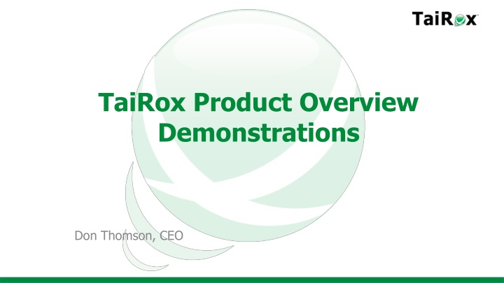 tairox product overview demonstrations n.