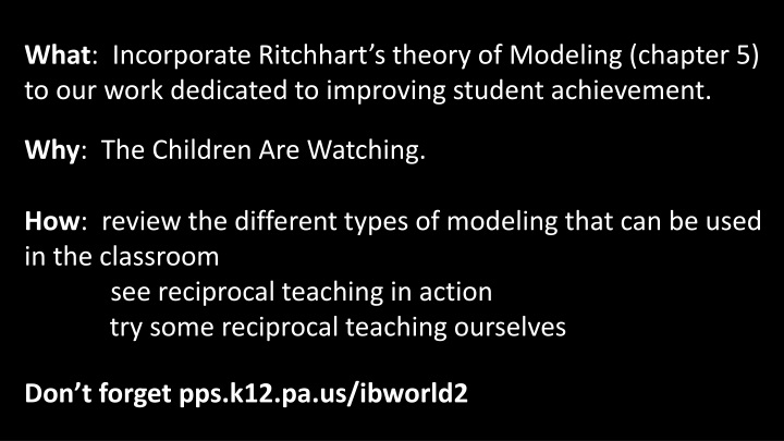 what incorporate ritchhart s theory of modeling n.