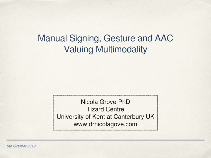 manual signing gesture and aac valuing multimodality n.