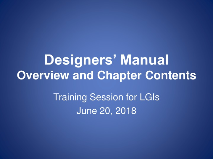 designers manual overview and chapter contents n.