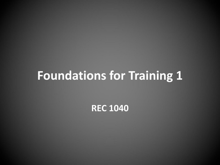 foundations for training 1 n.