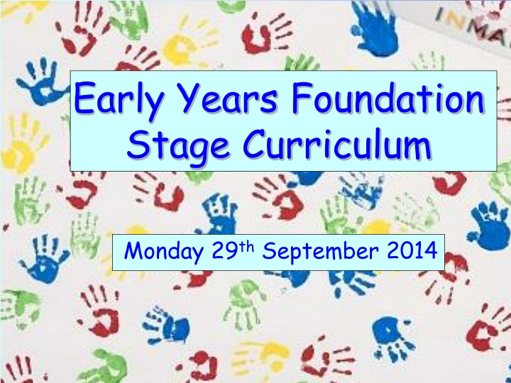 early years foundation stage curriculum n.