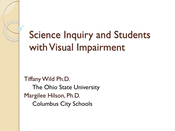 science inquiry and students with visual impairment n.