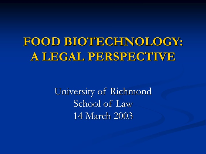 food biotechnology a legal perspective n.