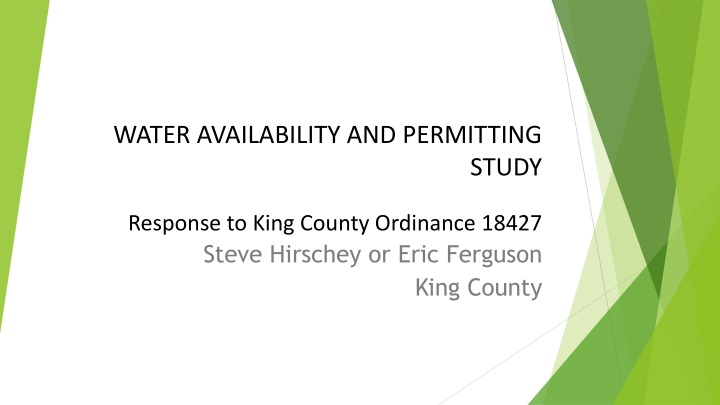 water availability and permitting study response to king county ordinance 18427 n.