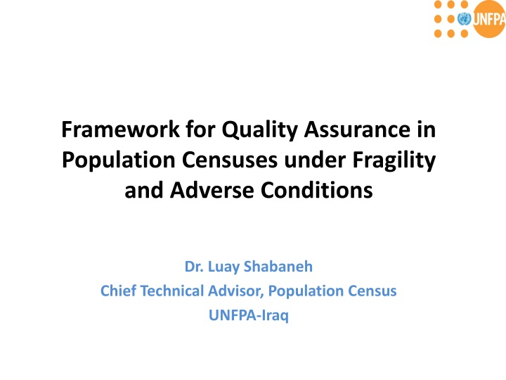 framework for quality assurance in population censuses under fragility and adverse conditions n.