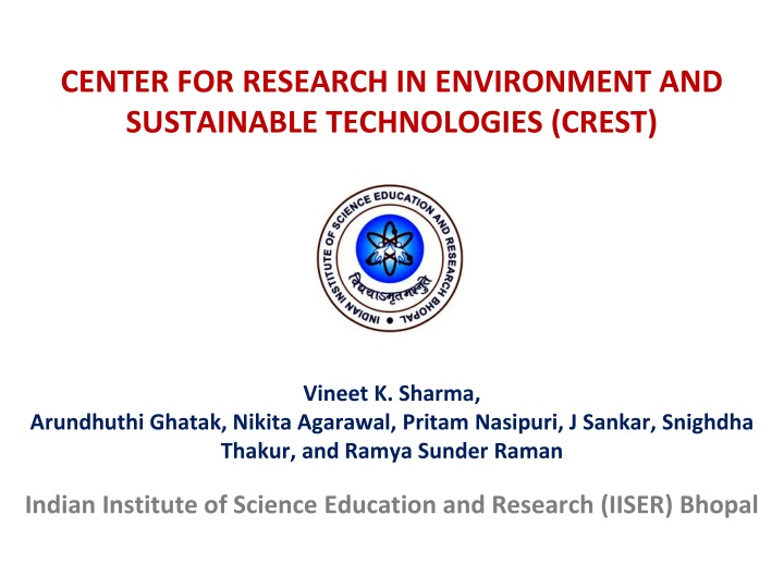 center for research in environment and sustainable technologies crest n.