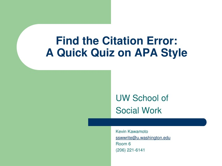 find the citation error a quick quiz on apa style n.