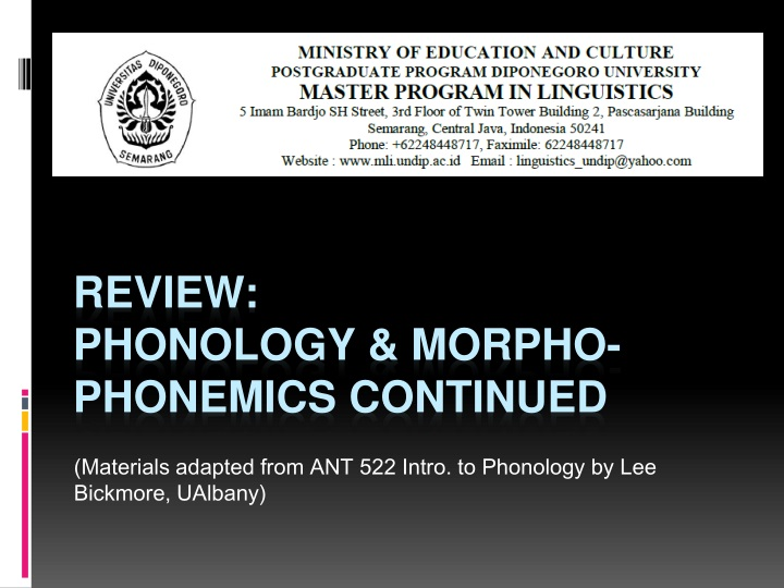 materials adapted from ant 522 intro to phonology by lee bickmore ualbany n.