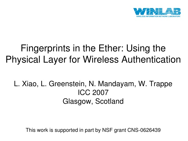 fingerprints in the ether using the physical layer for wireless authentication n.