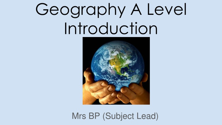 geography a level introduction n.