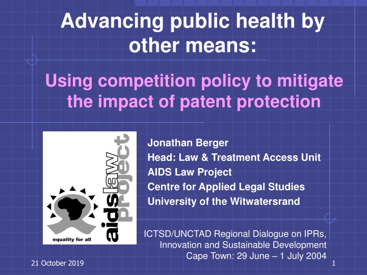 using competition policy to mitigate the impact of patent protection n.