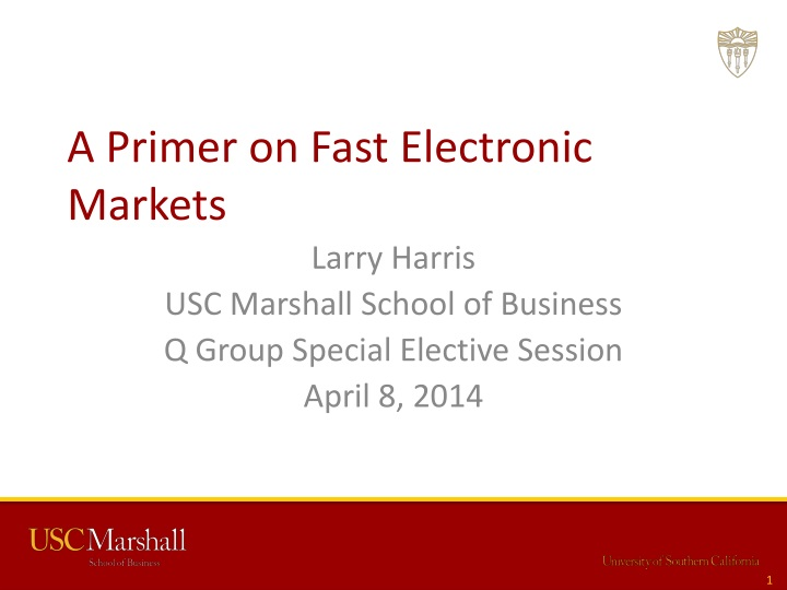 a primer on fast electronic markets n.