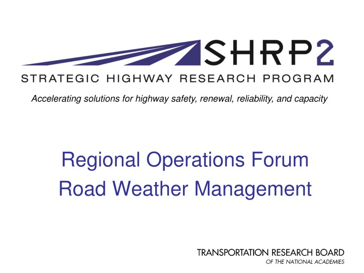 regional operations forum road weather management n.