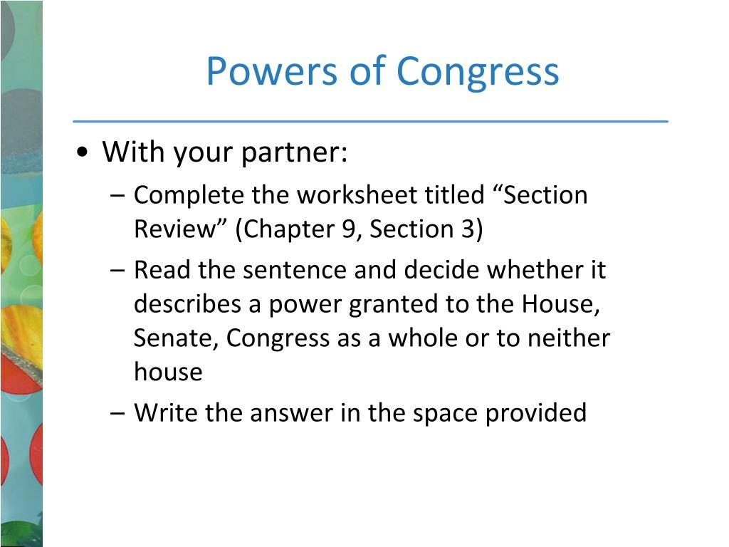 PPT - Legislative Branch: Congress PowerPoint Presentation, free Inside Powers Of Congress Worksheet