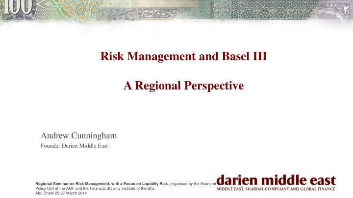 risk management and basel iii a regional p erspective n.