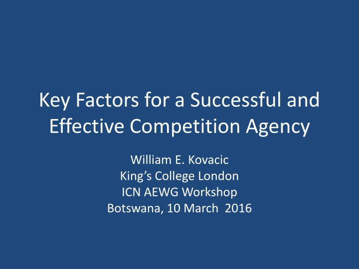 key factors for a successful and effective competition agency n.