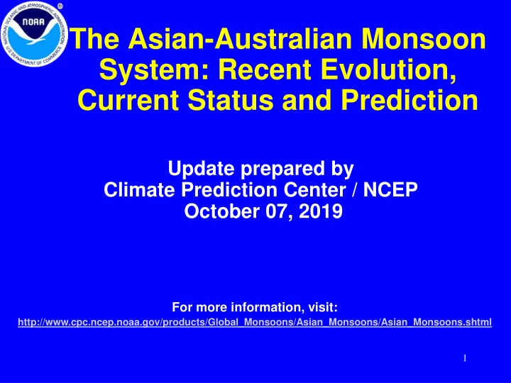 the asian australian monsoon system recent evolution current status and prediction n.