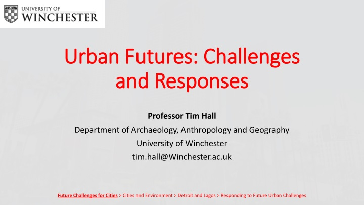 urban futures challenges and responses n.