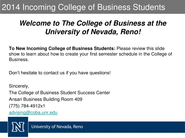 2014 incoming college of business students n.