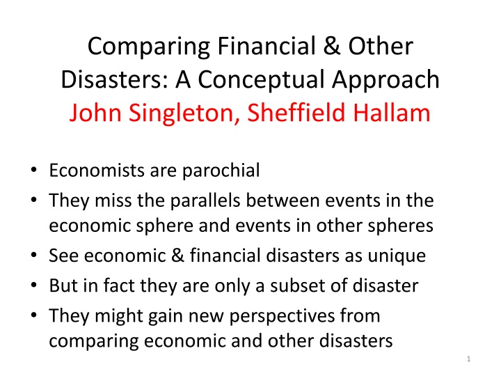 comparing financial other disasters a conceptual approach john singleton sheffield hallam n.