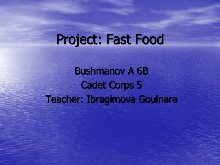 project fast food n.