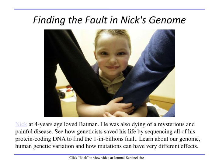 finding the fault in nick s genome n.