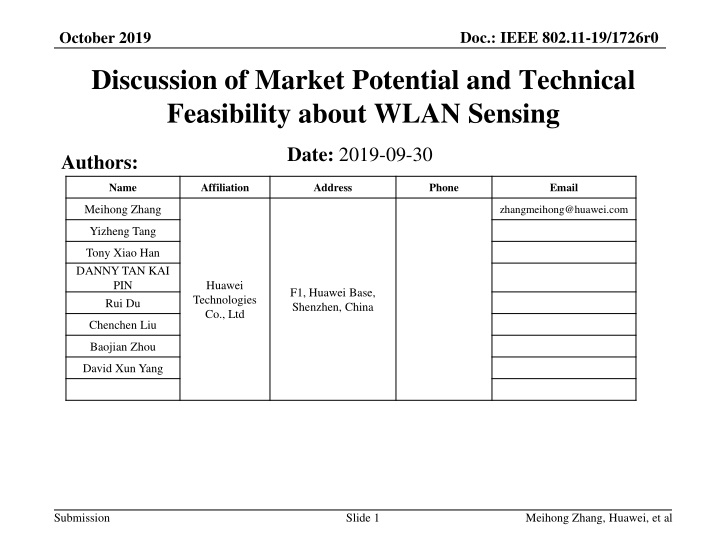 discussion of market potential and technical feasibility about wlan sensing n.