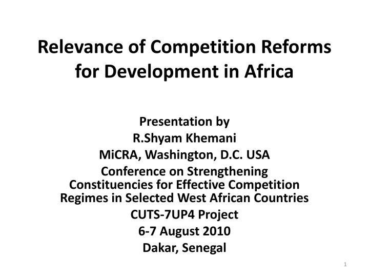 relevance of competition reforms for development in africa n.
