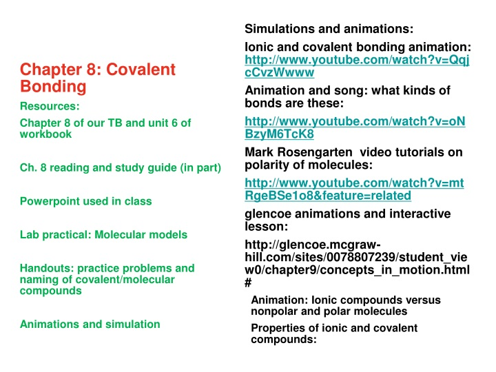 chapter 8 covalent bonding resources chapter n.