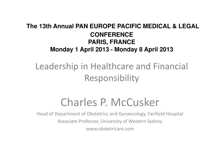 the 13th annual pan europe pacific medical legal n.