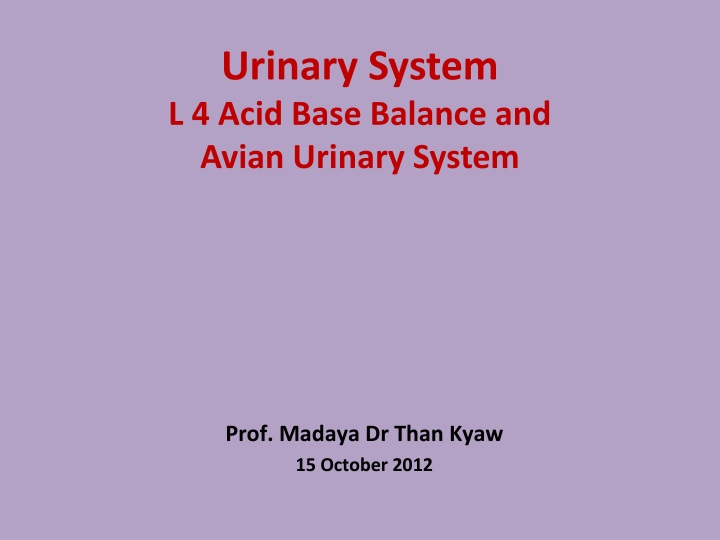 urinary system l 4 acid base balance and avian urinary system n.