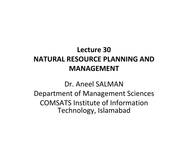 lecture 30 natural resource planning and management n.