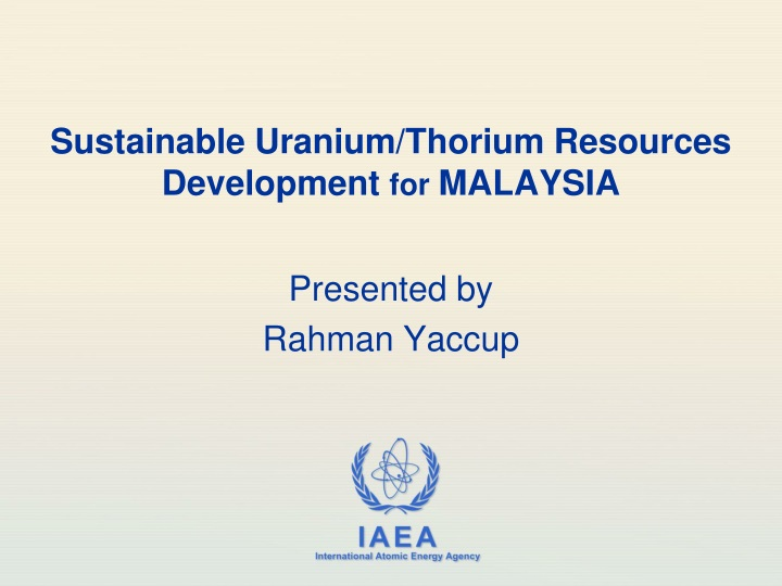 sustainable uranium thorium resources development for malaysia n.