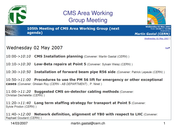 cms area working group meeting n.