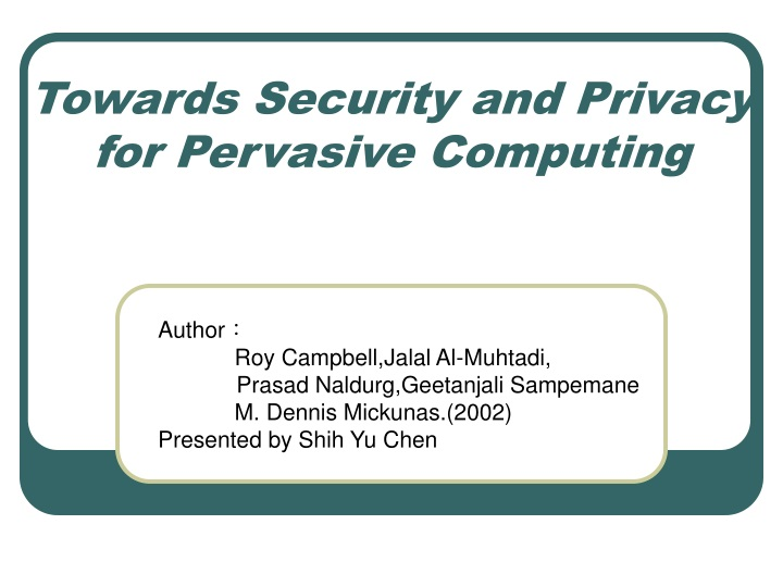 towards security and privacy for pervasive computing n.